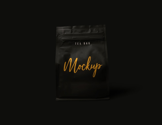 Close-up em coffee package mockup isolated