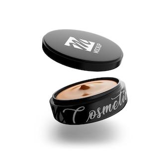 Close-up em cosmetic jar mockup isolated