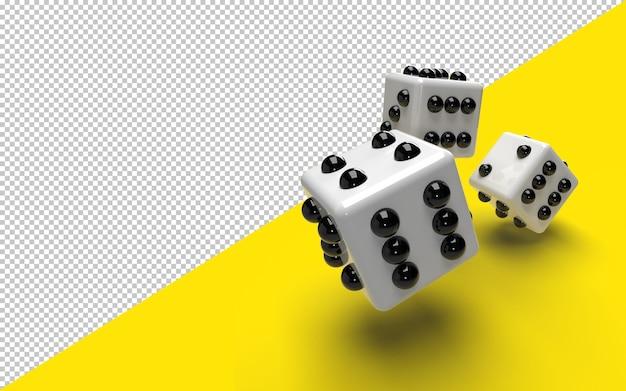 Close-up em dados brancos em renderização 3d isolado