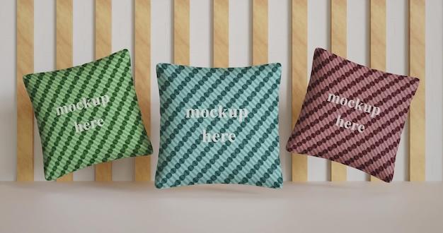 Close-up em design de maquete de almofada múltipla
