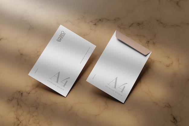 Close-up em design de maquete de envelope branco grande