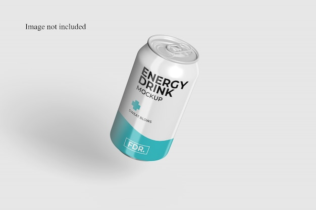 Close-up em floating soda can mockup