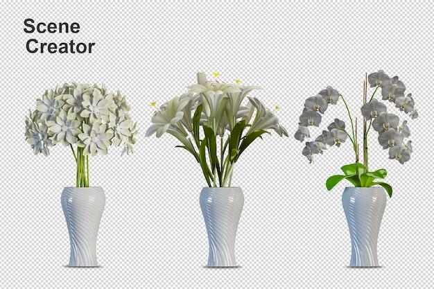 Close-up em flores no interior do vaso