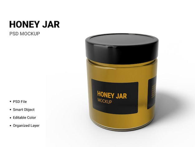 Close-up em honey jar mockup isolated