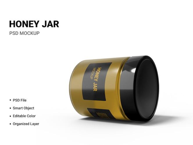 close-up em honey jar mockup isolated