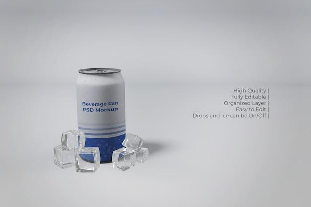Close-up em lata de refrigerante de alumínio moderna com gelo