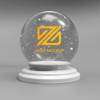 Close-up em logo mockup snowball