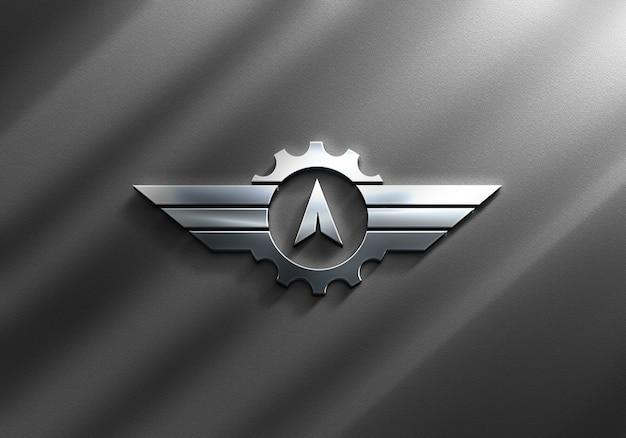 Close-up em luxo silver logo mockup