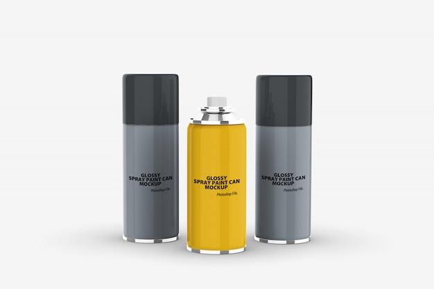 Close-up em maquete de lata de tinta spray brilhante