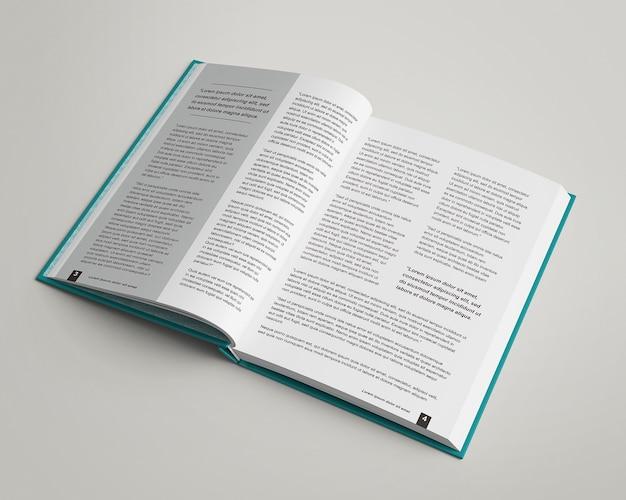 Close-up em maquete de visualização aberta de capa dura dentro de páginas