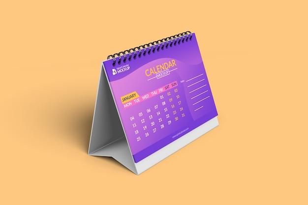 Close-up em maquetes de calendário em vista frontal esquerda com fundo
