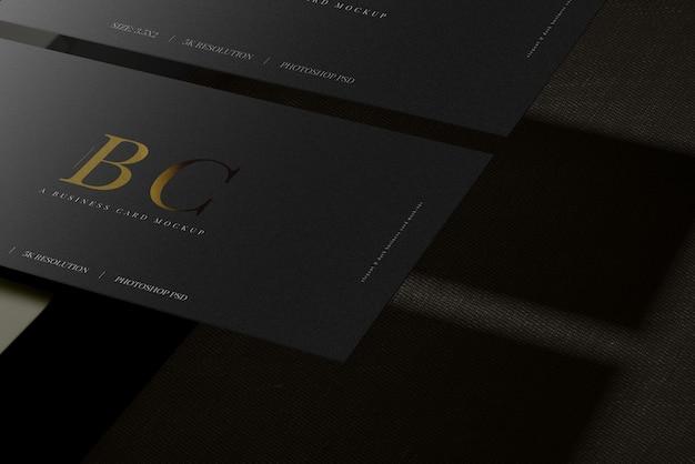 Close-up em modelos de cartão de visita escuro