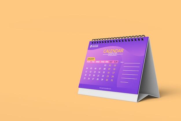 Close-up em modelos de design de maquete de calendário espiral em vista frontal