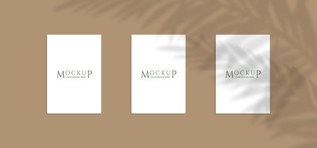 Close-up em modelos de pôster com sombra de planta