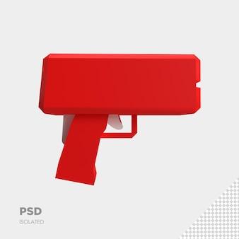 Close-up em money gun isolado premium psd