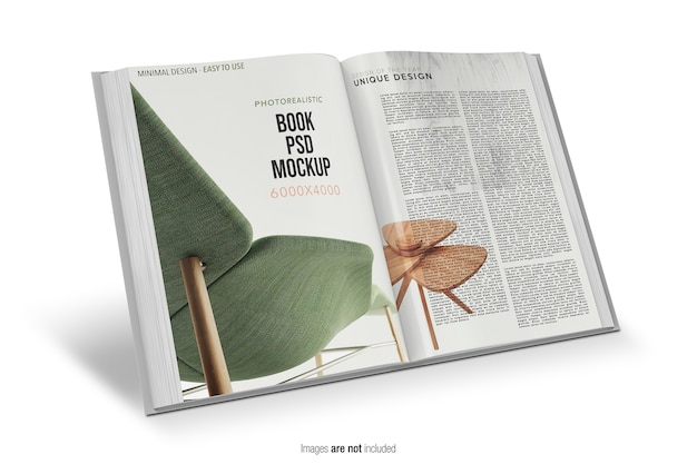 Close-up em open book mockup isolated