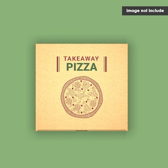 Close-up em pizza box mockup isolado