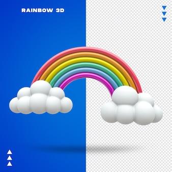 Close-up em rainbow cloud em renderização 3d
