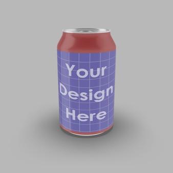 Close-up em soda can mockup isolado