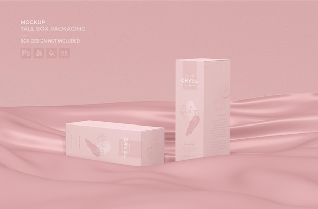 Close-up em tall box packaging mockup design
