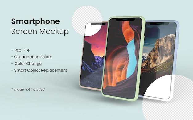 Close-up em três telas de maquete de smartphone