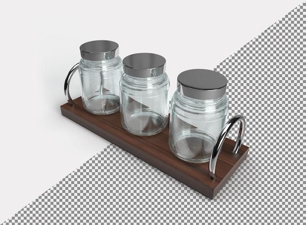 Close-up em um frasco de vidro em um suporte de madeira
