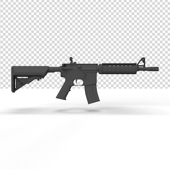 Close-up em uma arma em renderização 3d isolada