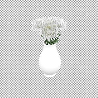 Close-up em uma flor em um vaso em renderização 3d