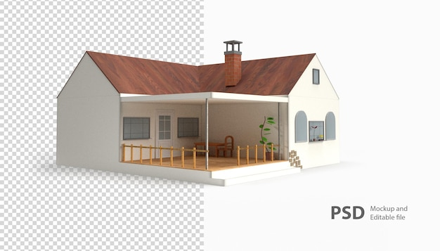 Close-up em uma renderização de casa isolada