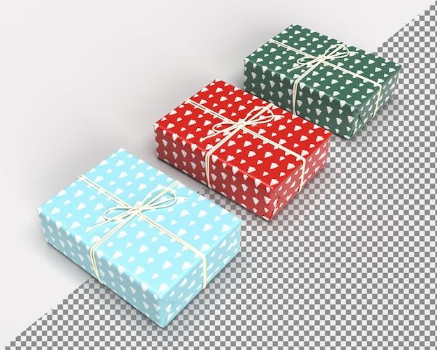 Close-up na caixa de presente renderização 3d para feliz natal