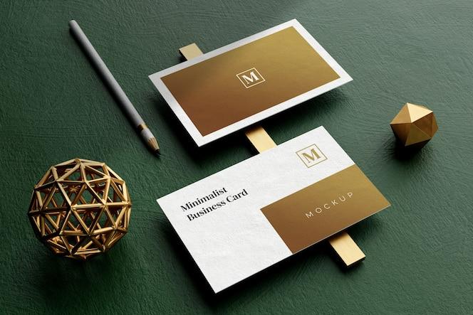 Close-up na elegante maquete de cartão de visita