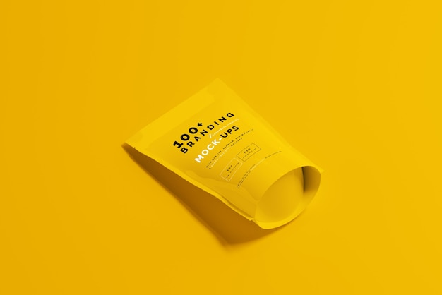 Close-up na embalagem do doypack standup pouch mockup