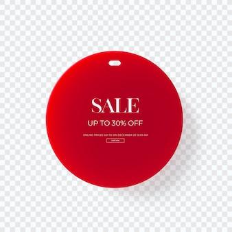 Close-up na etiqueta de roupas de venda vermelha 3d isolada