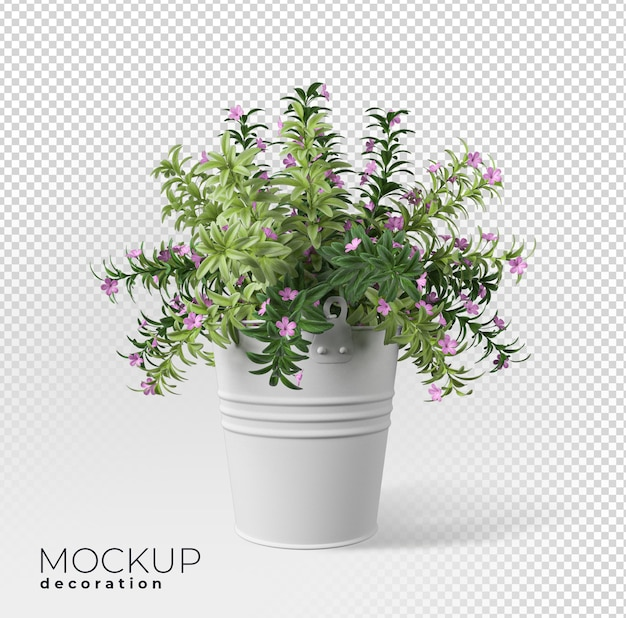 Close-up na flor na maquete 3d do interior do vaso