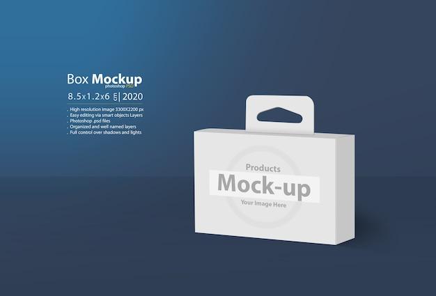 Close-up na maquete 3d de caixa em branco com cabide