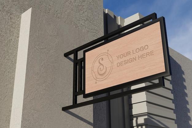 Close-up na maquete da placa de sinalização do logotipo