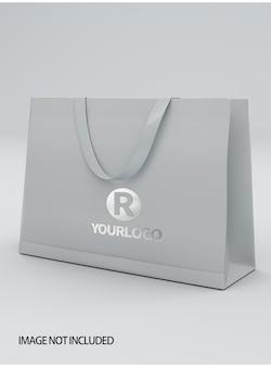 Close-up na maquete da sacola de compras