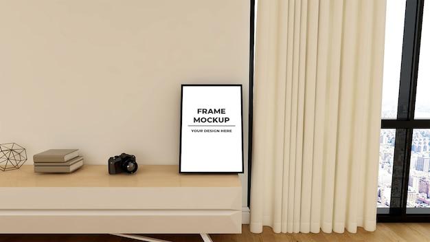 Close-up na maquete da tela da parede na mesa da tv