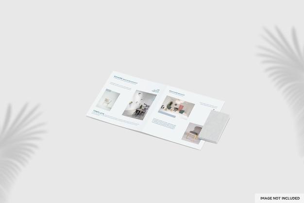 Close-up na maquete de brochura de móveis bifold