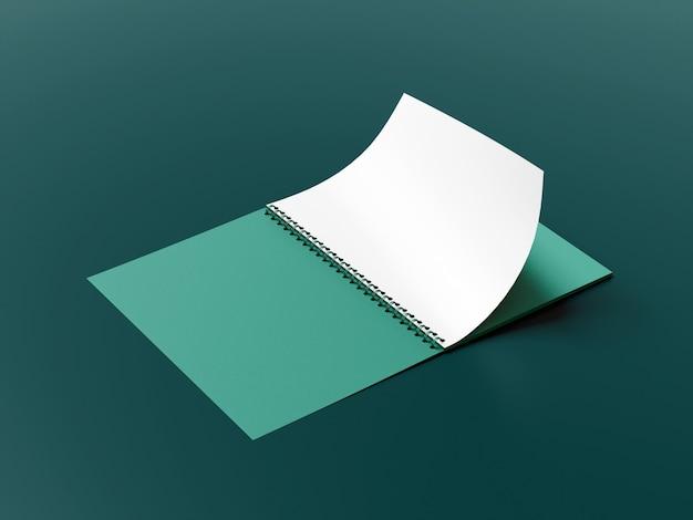 Close-up na maquete de caderno com anéis isolada