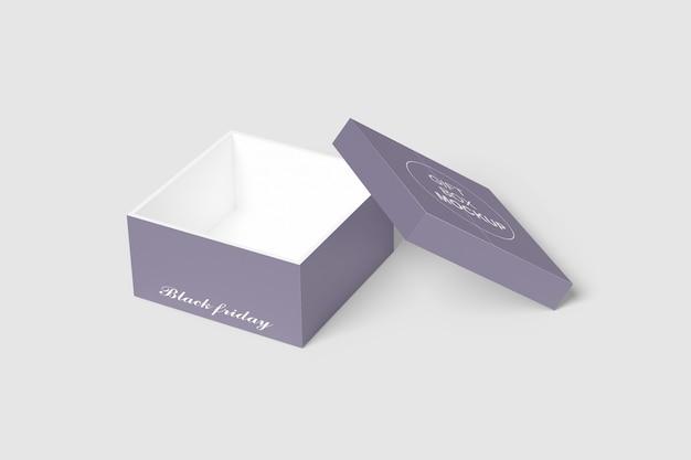 Close-up na maquete de caixa de presente isolada