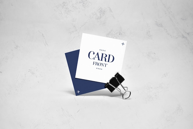 close-up na maquete de cartas quadradas