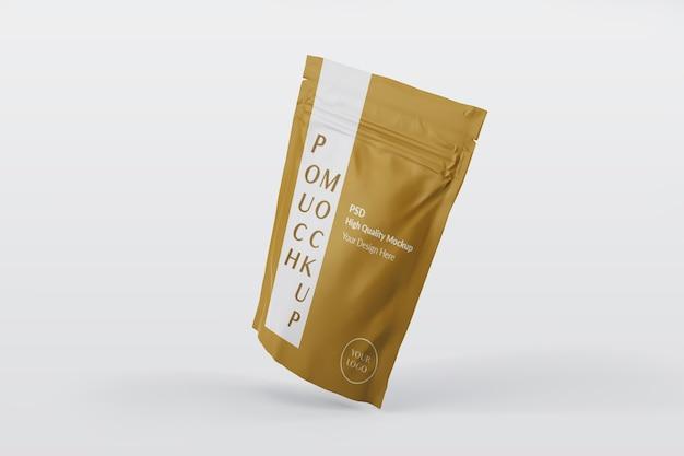 Close-up na maquete de embalagem de bolsa isolada