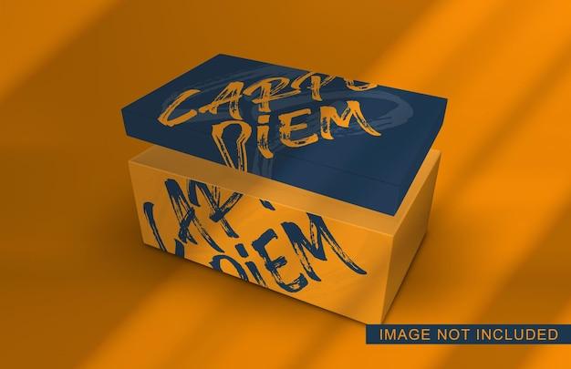 Close-up na maquete de embalagem de caixa de sapatos com tampa aberta