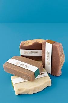 Close-up na maquete de embalagem de sabonete artesanal