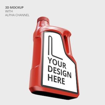Close-up na maquete de garrafa de plástico de óleo de motor