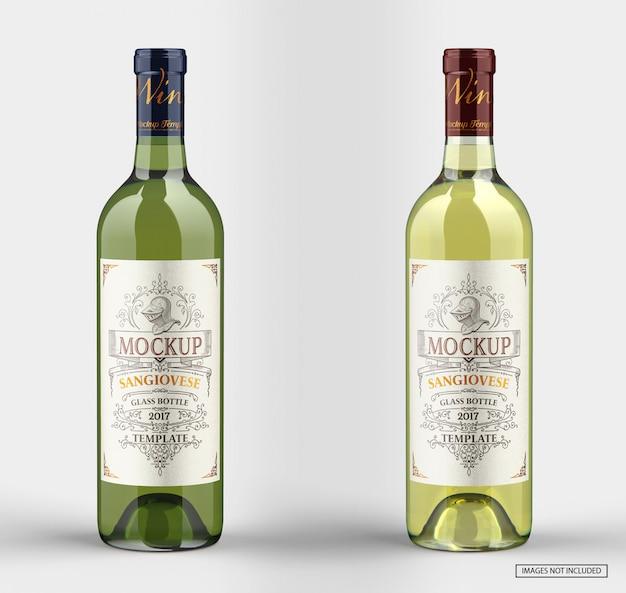 Close-up na maquete de garrafas de vinho branco