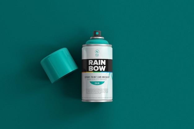 Close-up na maquete de lata de spray aerossol