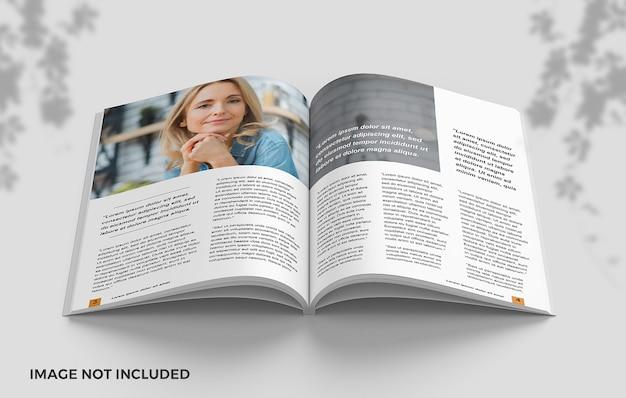 Close-up na maquete de livro limpo aberta em páginas