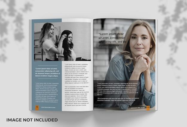 Close-up na maquete de livro limpo aberta em páginas Psd Premium